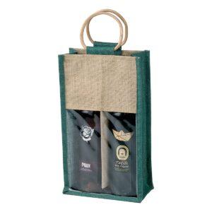 Πράσινη τσάντα για 2 κρασιά