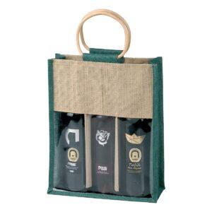 Πράσινη τσάντα για 3 κρασιά
