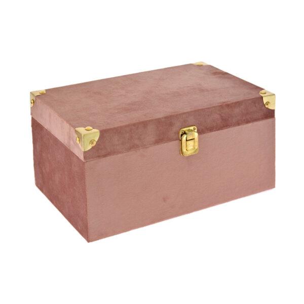 Ροζ βελούδινο κουτί 30 Χ 18 Χ 14 εκ.