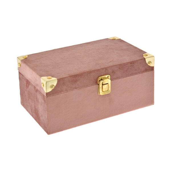 Ροζ βελούδινο κουτί 23 Χ 14 Χ 11 εκ.