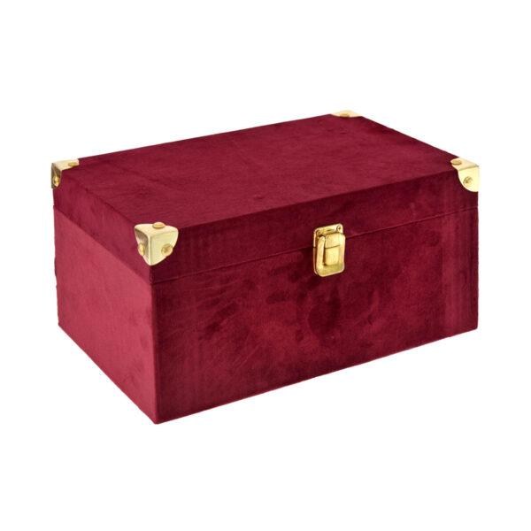 Μπορντώ βελούδινο κουτί 30 Χ 18 Χ 14 εκ.