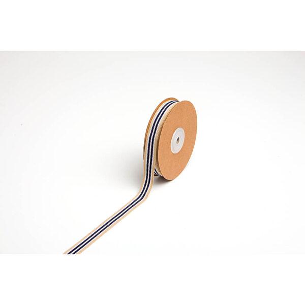 Κορδελλάκι μπεζ με μπλε-άσπρη ρίγα 15 mm X 20 yds