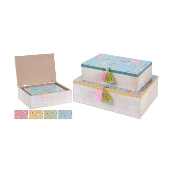 Κουτιά με σχέδιο λουλούδια και πουλάκια. Σετ των 2