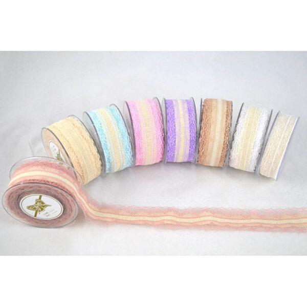 Υφασμάτινη κορδέλα σε εκρού με δαντελένιες ακρες σε διαφορετικά χρώματα