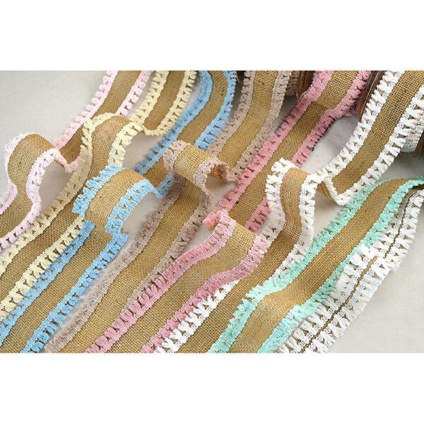 Κορδέλα λινάτσα με φουντίτσες σε διάφορα χρώματα 8 cm X 5 yds