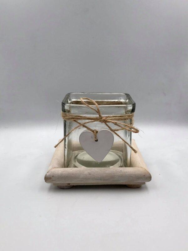 Γυάλινο διακοσμητικό με θήκη για κερί 10, 5 Χ 2, 5 εκ.