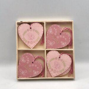 Ροζ - Σάπιο μήλο διακοσμητικές καρδιές. Σετ των 8. 6 εκ.