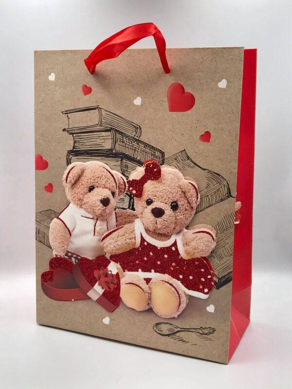 Τσάντα με δυο αρκούδια (Πουά φορεματάκι). Σετ 12 τεμάχια