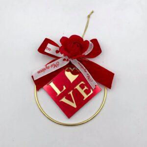 """Κρίκος """"Love"""" με λευκή και κόκκινη κορδέλα 10 εκ."""