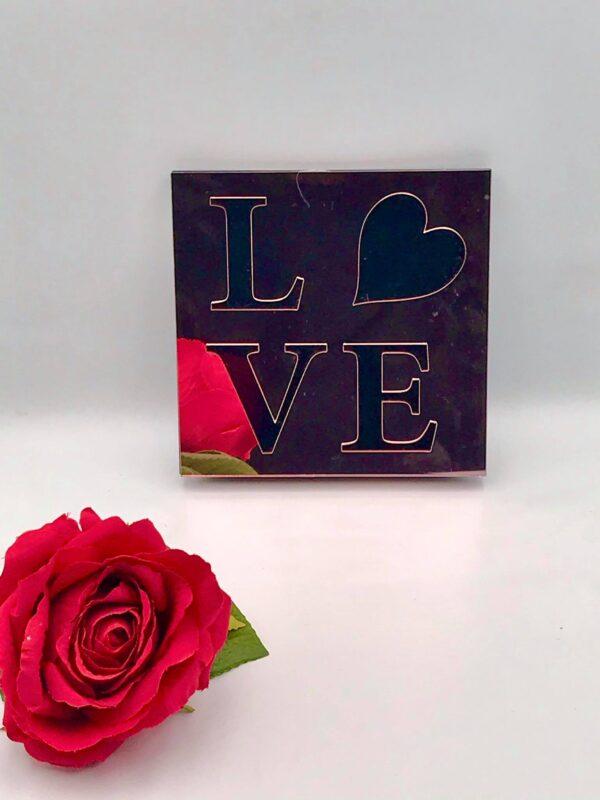 """Επιτραπέζιο ροζ πινακάκι """"Love"""" τύπου plexiglass 12 X 12 εκ. - Ροζ"""