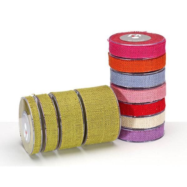 Κορδέλα λινάτσα σε χρώματα 40 mm X 10 yds
