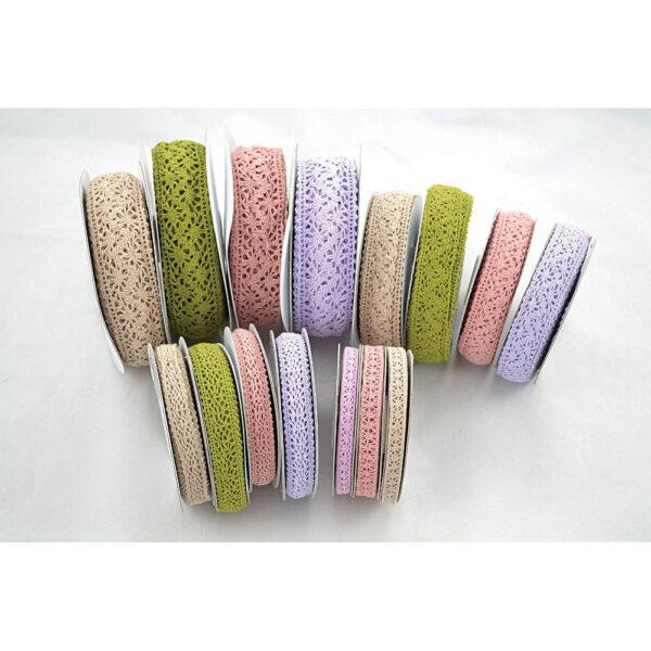 Κορδέλα δαντελένια σε διάφορα χρώματα και μεγέθη