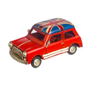 Κόκκινο vintage αυτοκινητάκι με αγγλική σημαία 15 Χ 6 εκ.