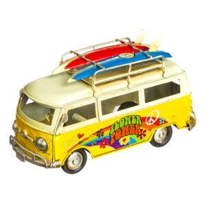 """Κίτρινο vintage φορτηγάκι """"Flower Power"""" 15 X 8 εκ."""