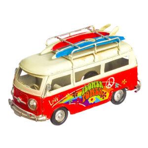 """Κόκκινο vintage φορτηγάκι """"Flower Power"""" 15 X 8 εκ."""