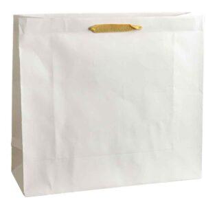 Λευκή τσάντα με μπεζ κορδόνι 38,5 Χ 43 Χ 15 εκ.