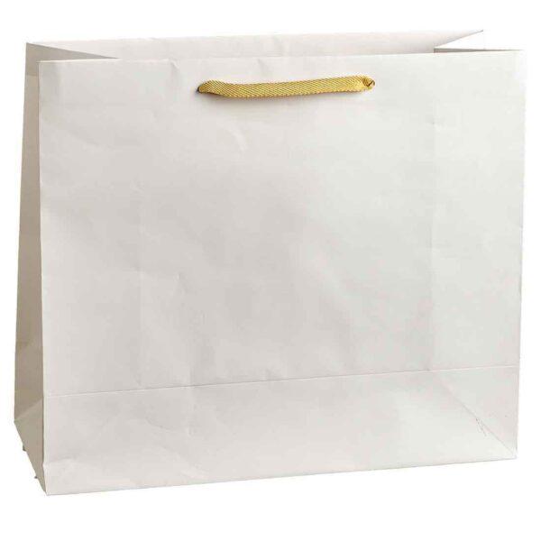 Λευκή τσάντα με μπεζ κορδόνι. 30 Χ 35 Χ 14 εκ. Σετ των 10