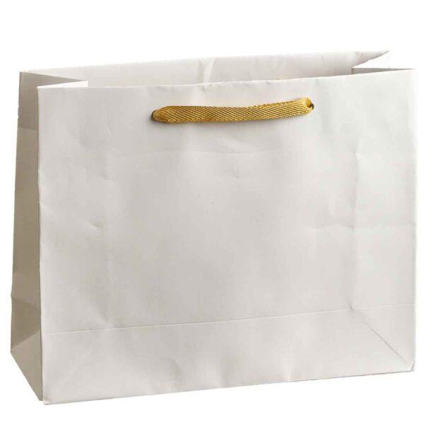 Λευκή τσάντα με μπεζ κορδόνι. 20 Χ 25 Χ 9 εκ. Σετ των 10 τεμαχίων