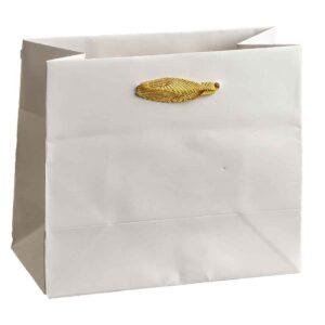 Λευκή τσάντα με μπεζ κορδόνι. 14 Χ 16 Χ 8 εκ. Σετ των 10 τεμαχίων