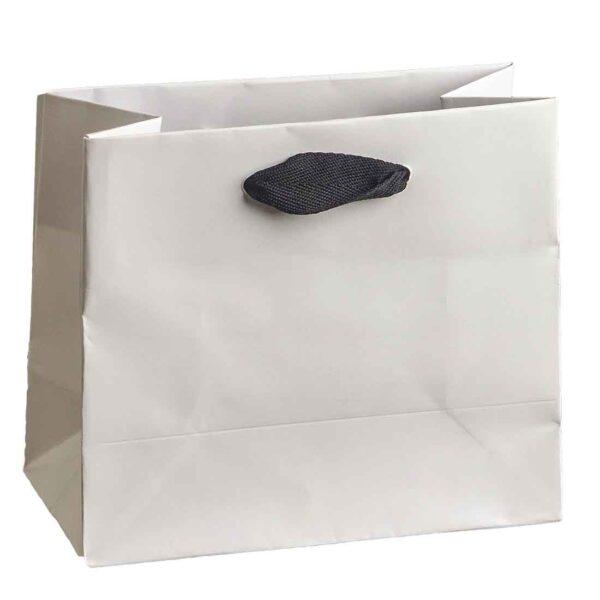 Λευκή τσάντα με μαύρο κορδόνι 14 Χ 16 Χ 8 εκ.. Σετ των 10 τεμαχίων