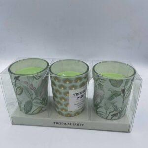 Σετ με 3 πράσινα κεριά Tropical Party 6 εκ. (ύψος)