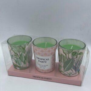 Σετ με 3 ροζ κεριά Tropical Party 6 εκ. (ύψος)