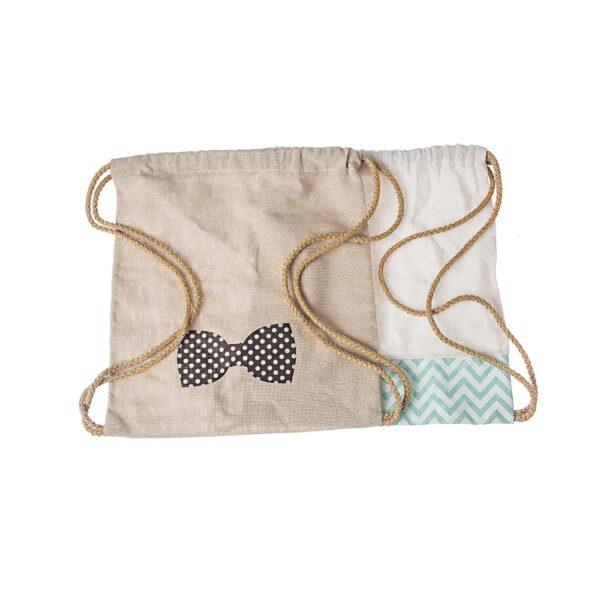 Υφασμάτινη τσάντα Α. με παπιγιόν ή Β. σεβρό βεραμάν