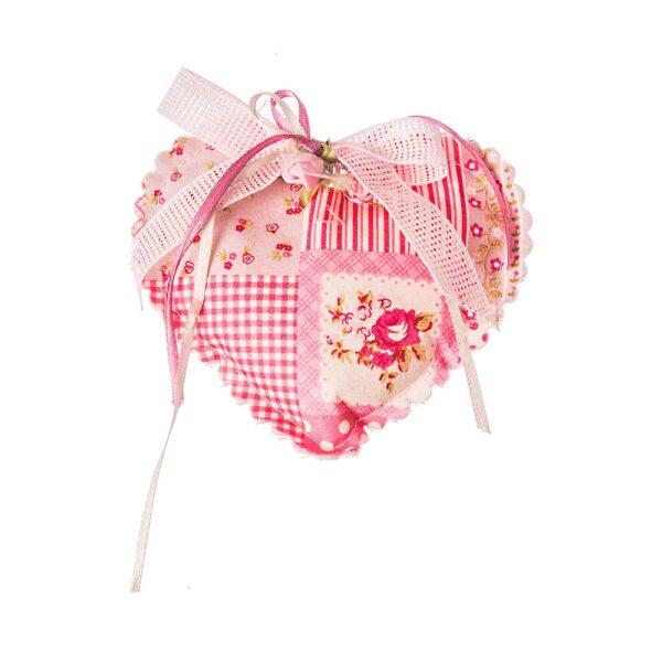 Καρδιά με ροζ vintage λουλούδια και καρώ 12 εκ.
