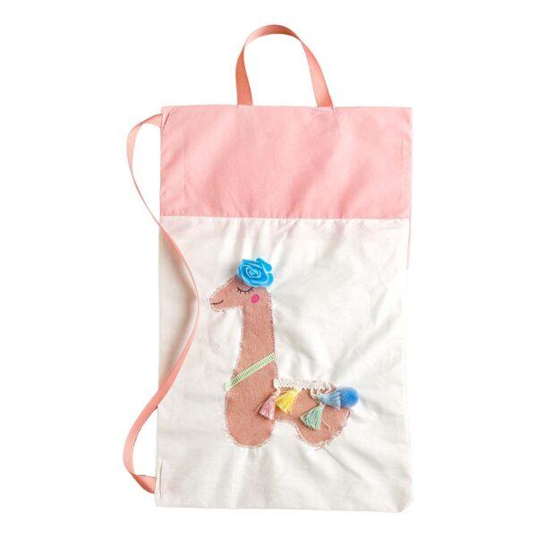 Υφασμάτινη τσάντα με ροζ λάμα 25 Χ 40 εκ.