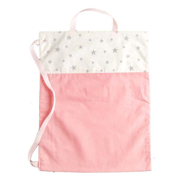 Υφασμάτινη τσάντα ροζ με αστέρια