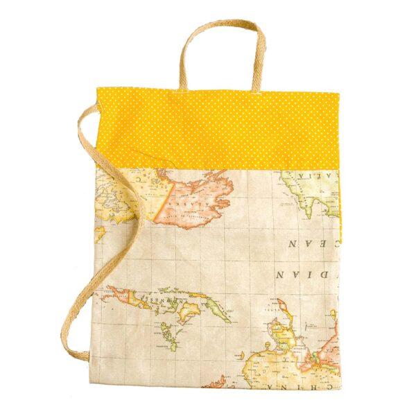 Υφασμάτινη κίτρινη τσάντα με χάρτη