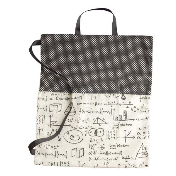 Υφασμάτινη τσάντα με μαθηματικούς τύπους και μαύρο πουά