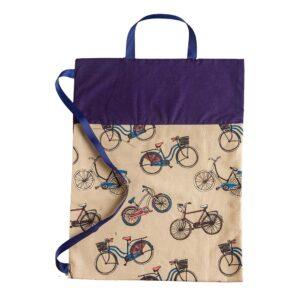 Υφασμάτινη τσάντα μπεζ-μπλε με ποδήλατα