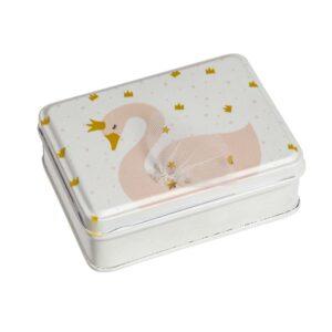 Κουτάκι τσίγγινο με ροζ κύκνο 10 Χ 7,5 Χ 4 εκ.