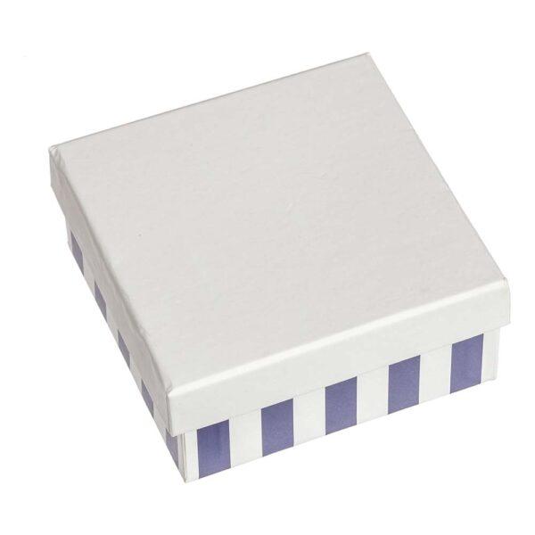 Κουτί με ριγέ πάτο και λευκό καπάκι 8,5 Χ 8,5 Χ 4 εκ.
