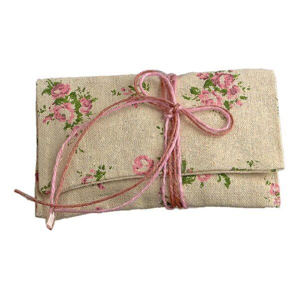 Φάκελος με ροζ vintage λουλούδια 14,5 Χ 8 εκ.