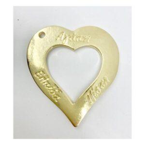 Χρυσή μεταλλική καρδιά - Αγάπη, Ελπίδα, Πίστη- 5 Χ 4,7 εκ.