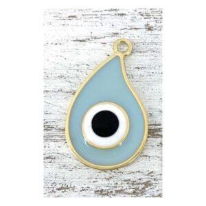 Μεταλλικό μάτι με χρυσή βάση- γαλάζιο 4 Χ 2,4 εκ.