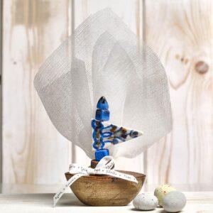 Μπομπονιέρα έτοιμη- Καράβι με γάζα/ κορδέλα και πέντε κουφέτα αμυγδάλου με δυνατότητα άλλης επιλογής
