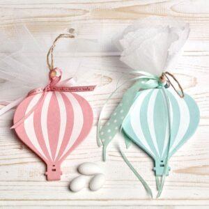 Μπομπονιέρα έτοιμη- Αερόστατο κρεμαστό/ τούλι με πέντε κουφέτα αμυγδάλου με δυνατότητα άλλης επιλογής