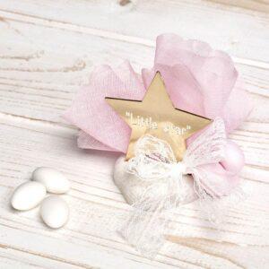 """Μπομπονιέρα έτοιμη- Αστέρι """"Little Star"""" πάνω σε πέτρα/ τούλι- κορδέλα και πέντε κουφέτα αμυγδάλου με δυνατότητα άλλης επιλογής"""