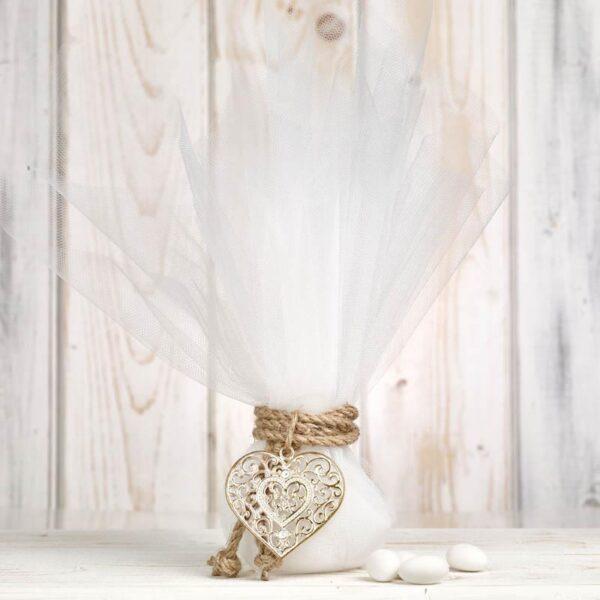 Μπομπονιέρα έτοιμη- Τούλι/ κορδόνι/ καρδούλα/ 5 κουφέτα αμυγδάλου με δυνατότητα άλλης επιλογής