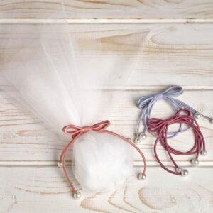 Μπομπονιέρα έτοιμη- Τούλι/ φιογγάκι/ 5 κουφέτα αμυγδάλου με δυνατότητα άλλης επιλογής