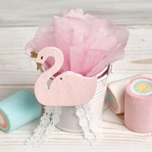 Μπομπονιέρα έτοιμη- Κουβαδάκι λευκό/ ροζ κύκνος/ 5 κουφέτα αμυγδάλου με δυνατότητα άλλης επιλογής