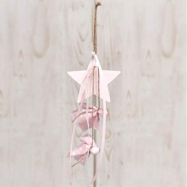 Μπομπονιέρα έτοιμη- Αστέρι κρεμαστό με κορδέλα/ 5 κουφέτα με δυνατότητα άλλης επιλογής