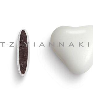 Κουφέτα καρδιά λευκή μάτ. 1 κιλό
